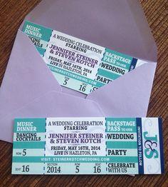 Elizabeths DIY Music Themed Wedding Concert tickets Wedding and