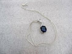 Art Deco Sapphire Sterling Silver Pendant Necklace by OurBoudoir, $108.00