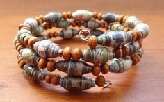 Multicolored Upcycled Newspaper and Wooden Bead Memory Wire Bracelet