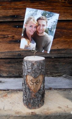 Custom Log Photo Holder- Initals carved in heart... part of the centerpieces