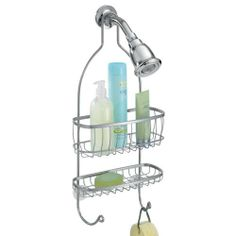 InterDesign York Shower Caddy, Silver by InterDesign. $18.99. Slips easily over shower head. Requires no mounting. Silver finish. Durable steel wire construction. Elegant design adds to any décor. York bathroom accessories bring an element of eloquence while maintaining function. their luxurious shapes are created in finished steel wire and have space-saving in mind so you have more room to get ready in the morning or freshen up in the evening. this shower caddy keeps all your s...