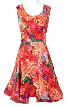 Red Floral Swing Dress <3