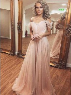 A-Line Spaghetti Straps Floor-Length Pink Prom Dress with Lace , for $109.99 only in cubejelly.com.
