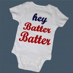HEY BATTER BATTER Baby Bodysuits,Tees, Infant, Newborn, Toddler, Baseball, Bat, Sports, Fitness, Baby Shower, Boy, Girl. $14.00, via Etsy.
