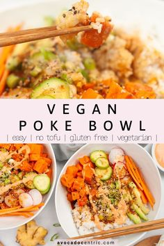 This vegan poke bowl recipe is gluten free, full of healthy veggies, and also easy to make! In addition, it is customizable, vegetarian, made with sweet potatoes and a delicious sauce. I love making Asian inspired bowlsbecause they are an easy way to eat lots of vegetables. You can customize it as well because you can add any veggies you like. You can also use quinoa instead of rice if you like it to keep it healthy. You can also add tofu #pokebowl #veganpokebowl #vegandinner #veganpoke… Best Vegan Recipes, Vegan Breakfast Recipes, Dinner Recipes, Healthy Recipes, Sin Gluten, Vegan Gluten Free, Gluten Free Recipes, Vegan Dinners, Tofu