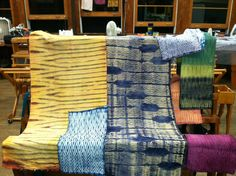 Woven Shibori with natural dyes by Kendra Kent, Penland School of Crafts, July 2011.