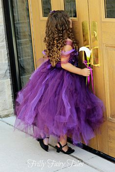 Plum/Purple Flower Girl Dress by FrillyFairyTales on Etsy, $90.00