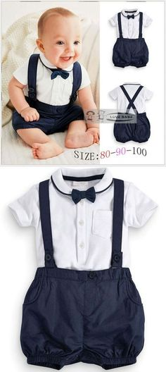 Summer Baby Clothing Cotton 2pcs Suit Short Infant Boy Gentleman Suspender Gift Sets For Newborns Christening Suits For Boys