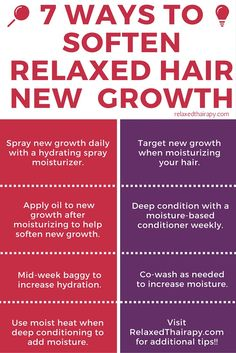 Looking to increase moisture for transitioning hair and relaxed hair? This post is for you! Here are 7 Ways to Soften New Growth and Hydrate Hair! relaxedthairapy.com