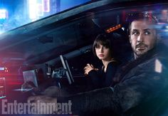 Ana de Armas as Joi and Ryan Gosling as LAPD Officer K in Blade Runner 2049