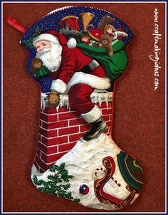 Perfect for any child to put out on Christmas Eve ready for Santa's visit. Christmas Themes, Christmas Ornaments, Holiday Decor, Quilted Christmas Stockings, Father Christmas, Fabric Panels, White Fabrics, Fabric Painting, Green Colors