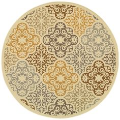 Oriental Weavers Outdoor Ivory Grey Polypropylene Floral Machine-Woven Area Rug