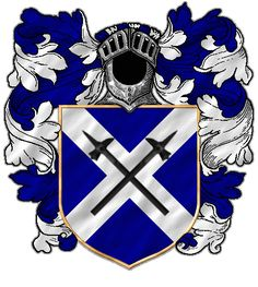Two black warhammers crossed on a white saltire on blue