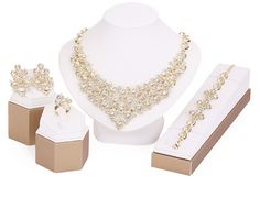 Fine Jewelry Sets For Women Wedding Accessories Crystals Set In 18K Gold Plated Base