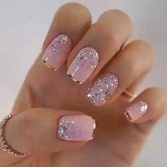 nail art designs with glitter \ nail art designs ; nail art designs for spring ; nail art designs for winter ; nail art designs with glitter ; nail art designs with rhinestones Elegant Nails, Classy Nails, Stylish Nails, Cute Nails, Elegant Nail Designs, French Nail Designs, Nail Designs For Weddings, Glamour Nails, Silver Glitter Nails