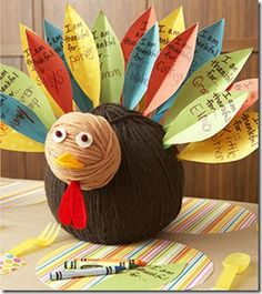 Yarn Turkey craft with grateful feathers attached.