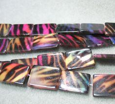 "Bright Multi Color Zebra Stripe Animal Print Shell 15x20mm Rectangle Beads 16"""