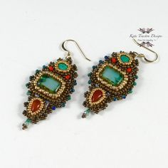 Esmerelda Earrings Bead Embroidery Red Green by KateTractonDesigns, $115.00