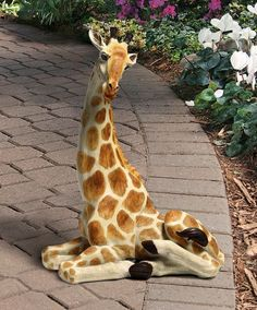 Africa Giraffe resting statue home or garden sculpture exotic beauty the African plains. Cute Baby Animals, Animals And Pets, Funny Animals, Wild Animals, Exotic Animals, Animal Babies, Jungle Animals, Exotic Beauties, Garden Statues