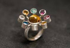 Solar System Ring - White Topaz, Citrine, Emerald, Garnet, Pink Topaz, Aquamarine, Blue Topaz Set in Sterling Silver Ring