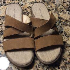 SALE Rock port leather sandals.  NEVER WORN Brown leather Rockport sandals.  Cushioned soles.  Never worn.  2/10/4 Rockport Shoes Sandals