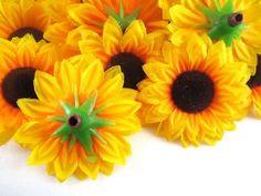 "Amazon.com: (100) Silk Yellow Sunflowers sun Flower Heads , Gerber Daisies - 1.5"" - Artificial Flowers Heads Fabric Floral Supplies Wholesale Lot for Wedding Flowers Accessories Make Bridal Hair Clips Headbands Dress by Florist Brand: Home & Kitchen"