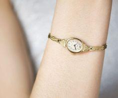 Delicate women's watch bracelet gold plated lady by SovietEra