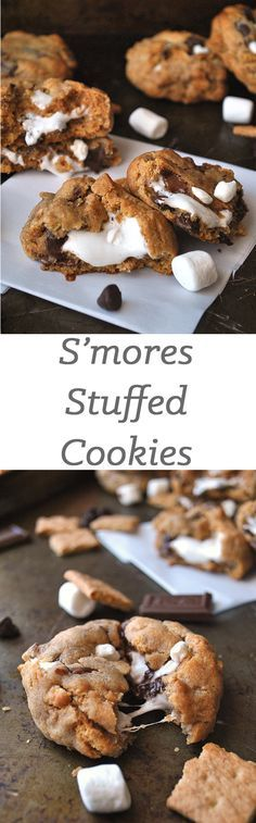 These s'mores stuffed cookies will be the best thing you do all day. These s'mores stuffed cookies will be the best thing you do all day. Smores Dessert, Smores Cookies, Smore Cookies Recipe, Smores Brownies, Shortbread Cookies, Yummy Cookies, Yummy Treats, Sweet Treats, Cookies Vegan