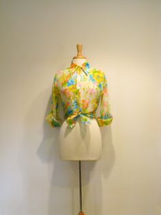 Vintage Sheer Neon Floral Button Up Blouse / 1970s Blouse