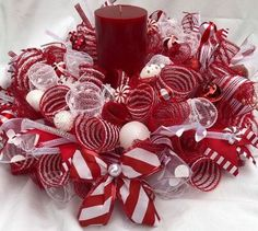 Your place to buy and sell all things handmade Excited to share this item from my shop: Candy-cane centerpiece, Christmas centerpiece, Christmas wreath, Christmas decor, Christmas deco mesh centerpiece Dollar Store Christmas, Christmas Candle, Blue Christmas, Christmas Balls, Christmas Crafts, Christmas Door, Christmas Things, Christmas Ideas, Candle Centerpieces
