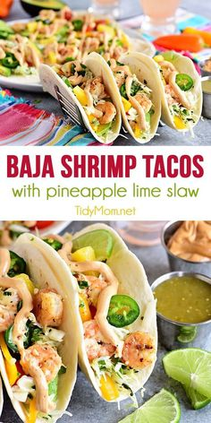 Baja Shrimp Tacos with Pineapple Lime Slaw Pineapple lime slaw adds a nice tangy crunch to these Baja Shrimp Tacos. Loaded with garlic roasted shrimp, avocado, sweet peppers, tomatoes and spicy chipotle mayo making these the BEST shrimp tacos. The perfect Shrimp Taco Recipes, Fish Recipes, Mexican Food Recipes, Shrimp Taco Sauce, Best Shrimp Taco Recipe, Recipes Dinner, Baja Shrimp Tacos, Shrimp Avocado, Pineapple Shrimp