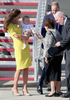 Prince William, Duke of Cambridge, Prince George of Cambridge and Catherine, Duchess of Cambridge arrive at Sydney Airport on a Australian Airforce 737 aircraft on 16.04.14