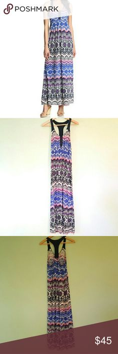 Lucky Brand Tribal Print Maxi Dress M This cute maxi dress features a crochet racerback and eyelet front. It is in good pre-owned condition with only minor signs of wear. Size medium. Lucky Brand Dresses Maxi