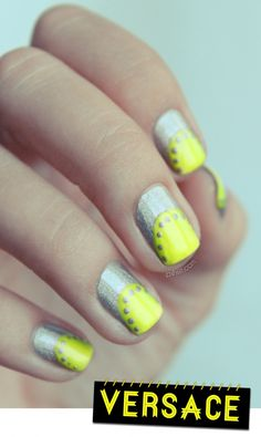 neon yellow and silver nails
