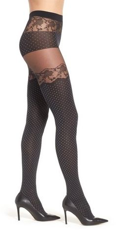 Oroblu Eleonor Tights - Thigh-high color blocking creates the sultry illusion of polka dot stockings in sleek tights with lacy accents and a panty-inspired top. Shop at www.fashion-tights.net #tights #pantyhose #hosiery #nylons #legs