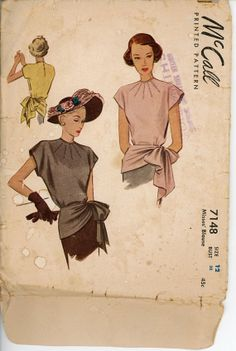 1940s Evening Blouse Pattern McCall 7148 Bust 32 by CynicalGirl
