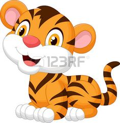 B�b� mignon bande dessin�e de tigre photo
