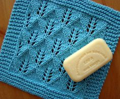 Free knitting dishcloth pattern: Leaf lace