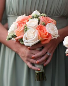 Coral and White Bridesmaid Bouquet