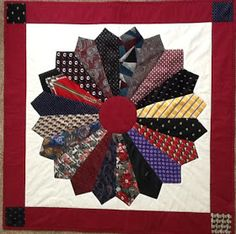 Dresden Plate Recycled Men& Neckties with Burgundy Borders I used 20 men& neckties to create this traditional quilt block called Dr. Necktie Quilt, Shirt Quilt, Necktie Purse, Tie Pillows, Dresden Plate Quilts, Old Ties, Tie Crafts, Mens Ties Crafts, Keepsake Quilting