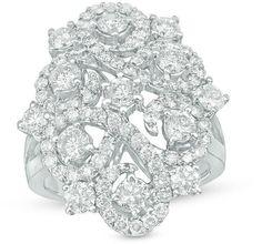Zales 2-1/2 CT. T.W. Diamond Filigree Swirl Ring in 14K White Gold