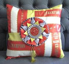Horse Show Ribbon Pillows - Darling idea! Horse Ribbon Display, Show Ribbon Display, Horse Show Ribbons, Ribbon Quilt, Ribbon Art, Ribbon Crafts, Ribbon Projects, Sewing Projects, Horse Quilt