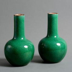 A pair of 19th century Chinese Qing Dynasty green ground porcelain bottle vases.