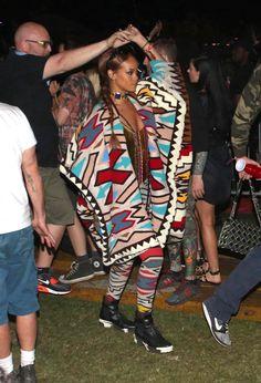 Celebrities at Coachella 2015 - Rihanna wearing a navajo print blanket coat + matching leggings with sneakers