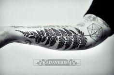 botanical tattoo on forearm by @kadaverism