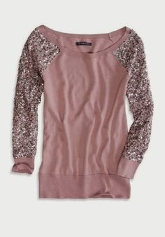 Amazing American Eagle Sequin Sleeve Sweater for Ladies