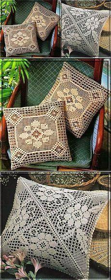 Филейное вязание. Схемы ажурных подушек | Уют и тепло моего дома: Crochet Motifs, Filet Crochet, Crochet Doilies, Crochet Stitches, Knit Crochet, Crochet Patterns, Crochet Tops, Crochet Cushion Cover, Crochet Cushions