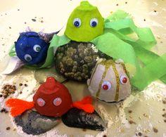 diy ideen eierschachtel ausnutzen farbige lebewesen basteln