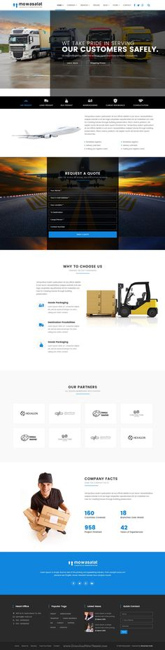 Mowasalat is a large business bootstrap HTML5 #template for #logistic, warehouse, shipping & transportation companies, offices #websites. Download Now!