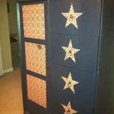 Mod podge scrapbook paper to furniture to give it a whole new look.
